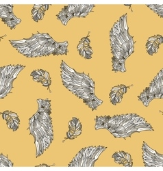 Seamless pattern with angel wings vector image