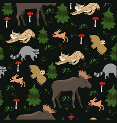Seamless pattern with forest animals vector