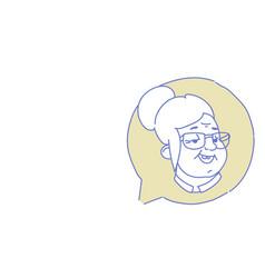 Senior female head chat bubble profile icon vector