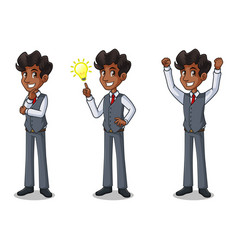 set of businessman in vest getting ideas gesture vector image