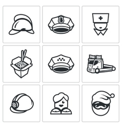 Set of Emergency Services Icons vector