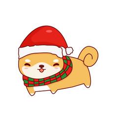 Shiba inu cute cartoon christmas vector