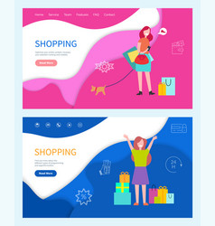 shopping good day girls with colored bags vector image