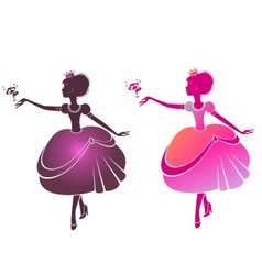 Silhouette of a beautiful princesses vector image