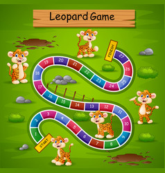 Snakes and ladders game leopard theme vector