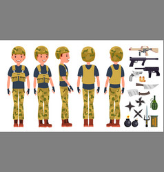 soldier man set poses army person vector image