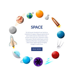space banner with planets and shuttles vector image