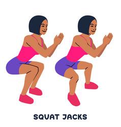 Squat jacks squat sport exersice silhouettes of vector