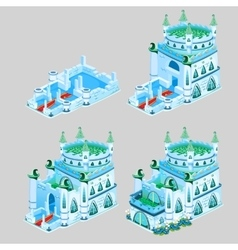 Stages of construction ice Kingdom four icons vector image