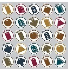 Tag icons set retail theme simplistic symbols vector