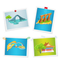 Taiwanese attractions on images attached to wall vector