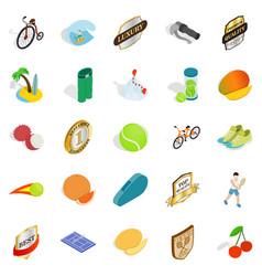 tennis championship icons set isometric style vector image