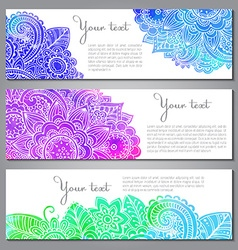 Three banners with doodle flowers watercolor vector image