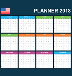 usa planner blank for 2018 scheduler agenda or vector image
