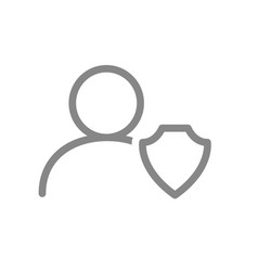 User profile with shield line icon online account vector