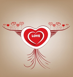 Valentines fly heart with wings vector image