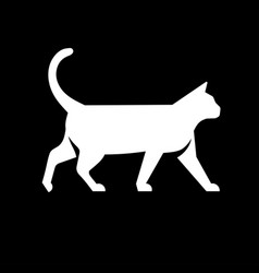 white cat logo vector image