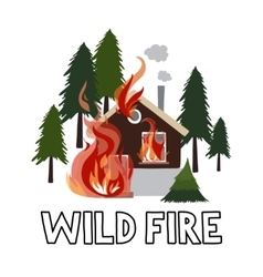 Wild fire in a forest Burning house vector