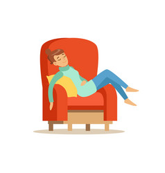 Young woman sleeping on red armchair relaxing vector