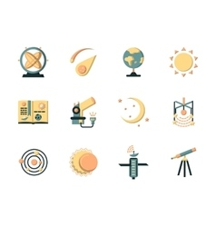 Flat color icons for space vector image vector image
