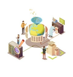 Information Processing Isometric Design vector image vector image