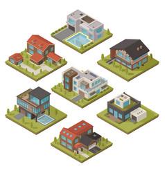 isometric house icon set vector image