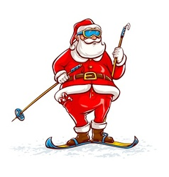 Santa claus on skis vector image vector image