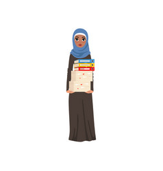 arabic businesswoman character standing and vector image