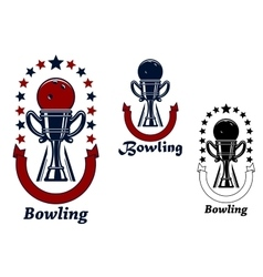 Bowling game icons with trophy cup vector image