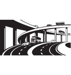 three level interchange on highway vector image