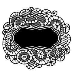 Vintage fashion lace frame with abstract flowers vector image