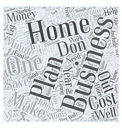 Your minute home business plan word cloud concept vector