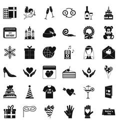 celebration icons set simple style vector image