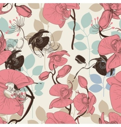 Retro pattern flower orchid vector image vector image