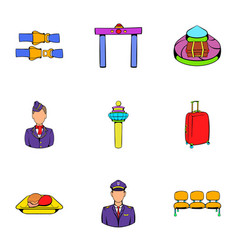 aboard icons set cartoon style vector image