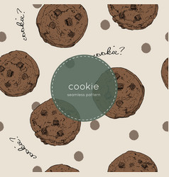 chocolate chip cookie seamless pattern vector image
