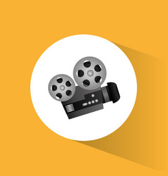 cinema camera film projector round icon vector image