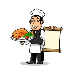 Fish restaurant Chef Menu card template vector image