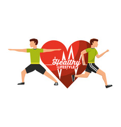 heart rate man and woman sport activity healthy vector image