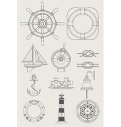 Sea ship set icon vector
