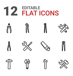 12 wrench icons vector image