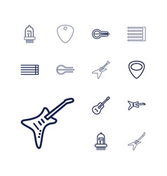 13 guitar icons vector