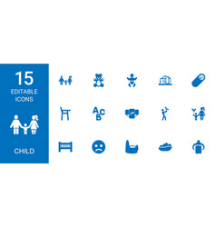 15 child icons vector image