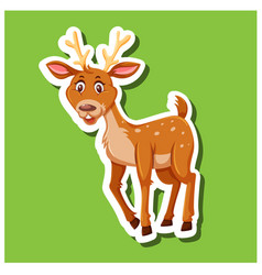 a simple dear sticker vector image