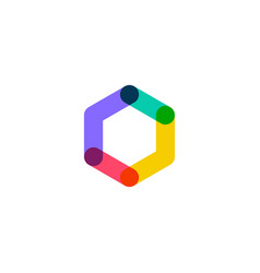 abstract hexagon overlapping logo icon vector image