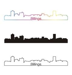 Billings skyline linear style with rainbow vector