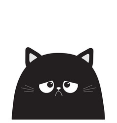 Black cute sad grumpy cat kitten silhouette bad vector