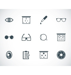 black optometry icons set vector image