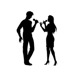 Black silhouettes of man woman singing together vector