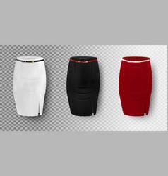 Black white and red skirt mockup set vector